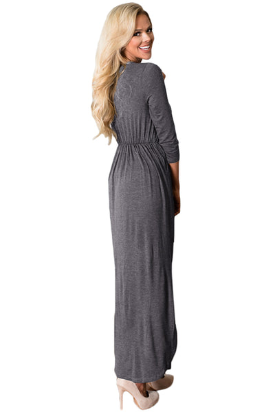 Her Fashion Grey Surplice Neck High Waist Pleated Pocket Maxi Dress