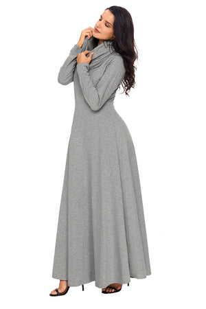 Her Fashion Grey Turtleneck Neck Long Sleeve Trendy Maxi Dress