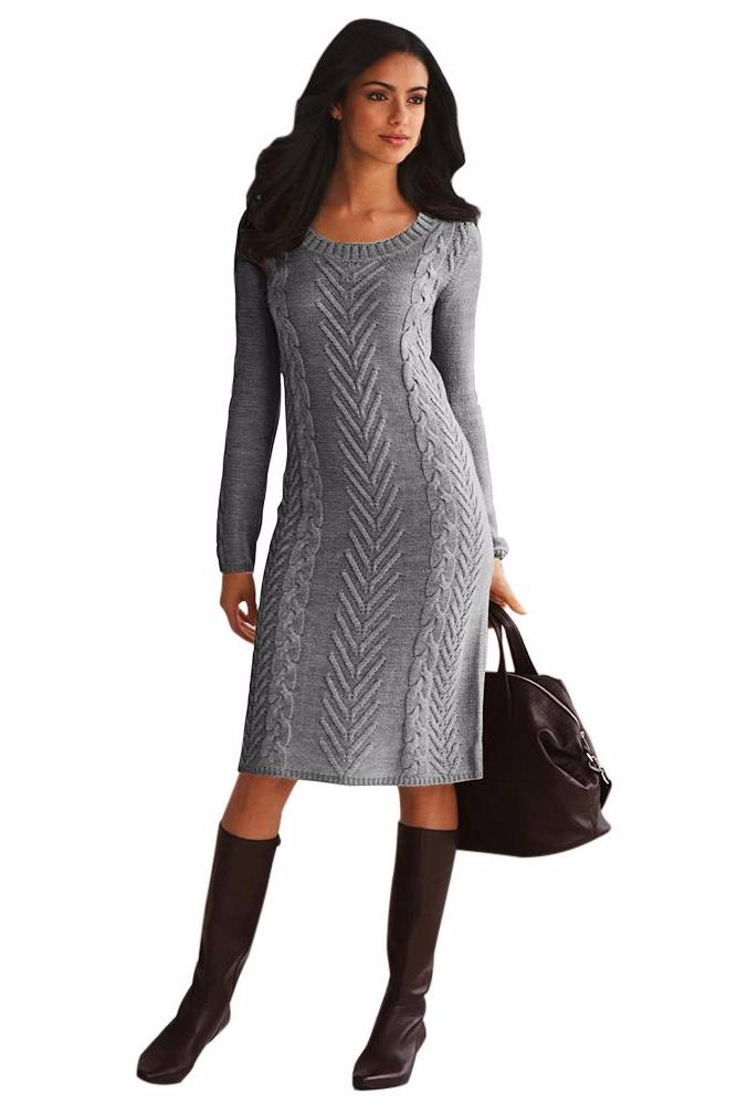 Her Fashion Black Women's Hand Knitted Sweater Dress
