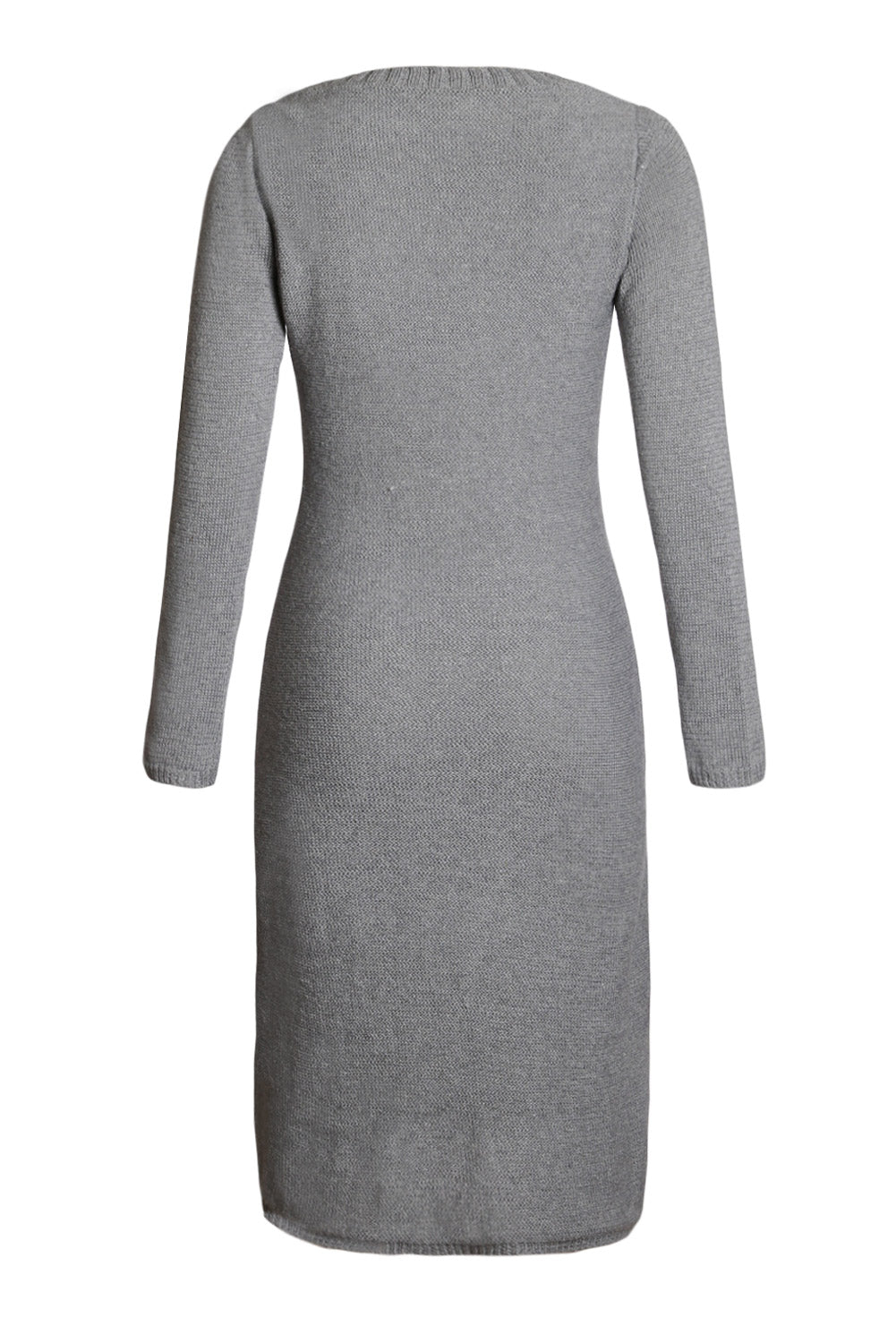Her Fashion Grey Women's Hand Knitted Sweater Dress