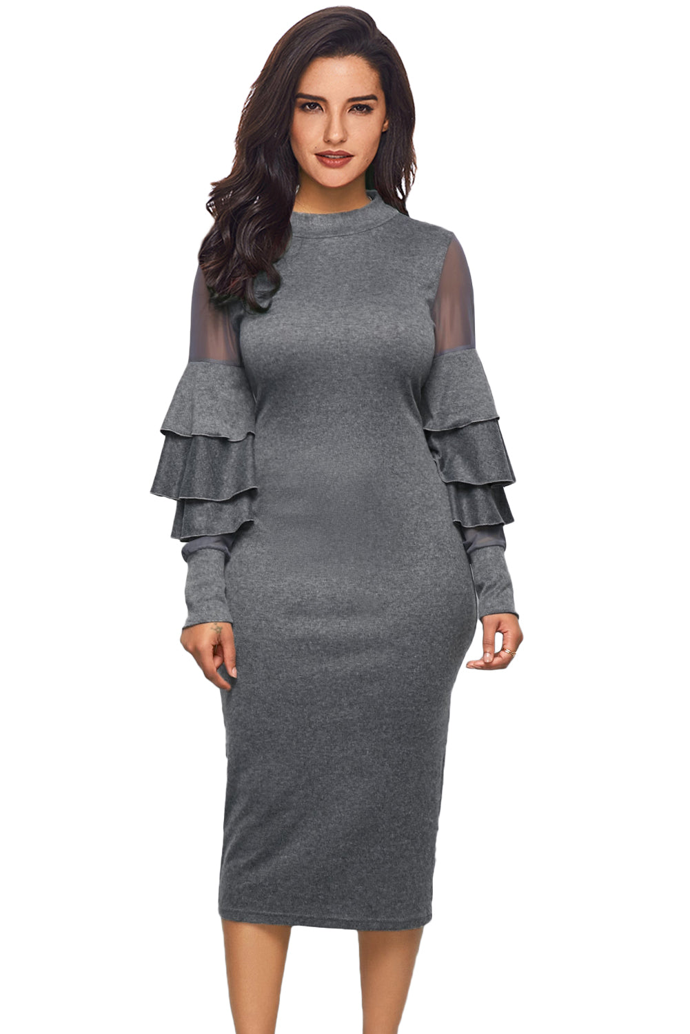 Her Fashion Grey Layered Bell Sleeve Mesh Cutout Bodycon Midi Dress