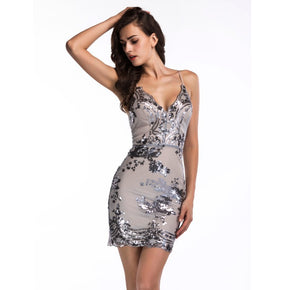 Her Fashion White Spaghetti Strap Backless Sequins Slim Party Dress