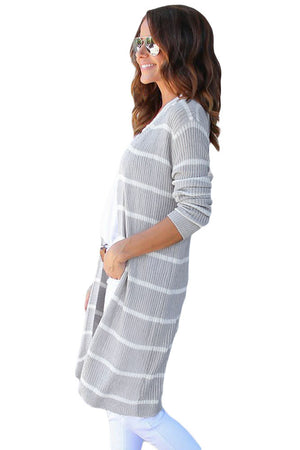 Her Fashion White Striped Ribbed Chic and Timeless Cardigan