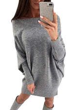 Her Fashion Black Stylish Long Batwing Sleeve Baggy Sweater Dress