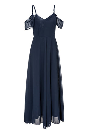 Her Fashion Hammock Off Shoulder Navy Chiffon Long Maxi Dress