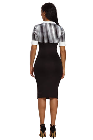 HerFashion Houndstooth Pattern Red Office Stylish Bodycon Midi Dress