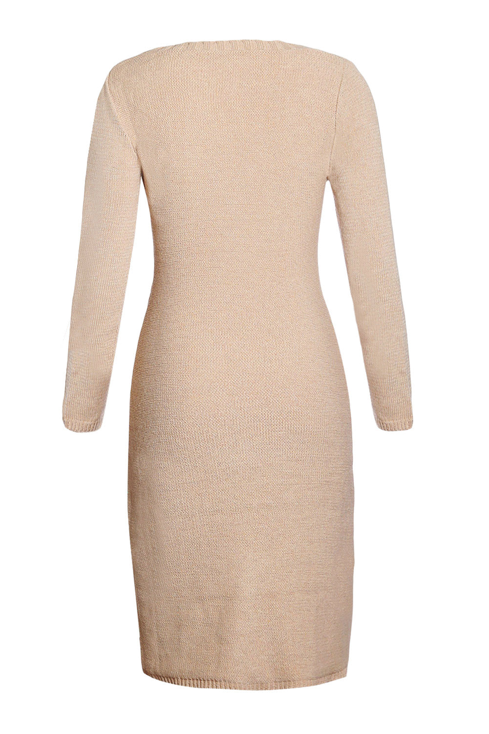 Her Fashion Khaki Women's Hand Knitted Sweater Dress