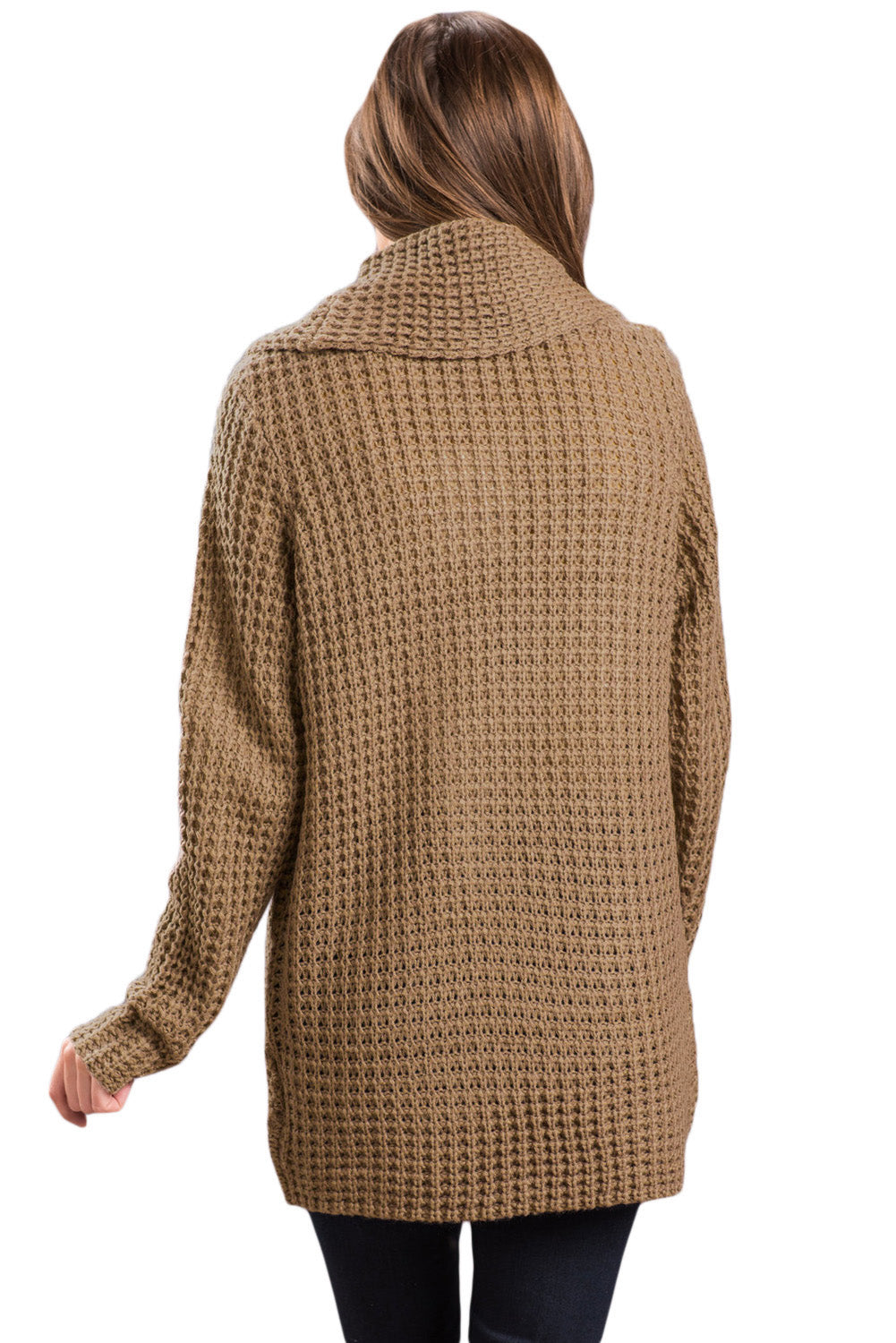 Her Fashion Khaki Buttoned Wrap Cowl Neck Trendy Sweater