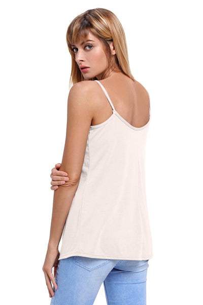 Her Fashion Grey Spaghetti Strap Tank Top with Modern Neckline