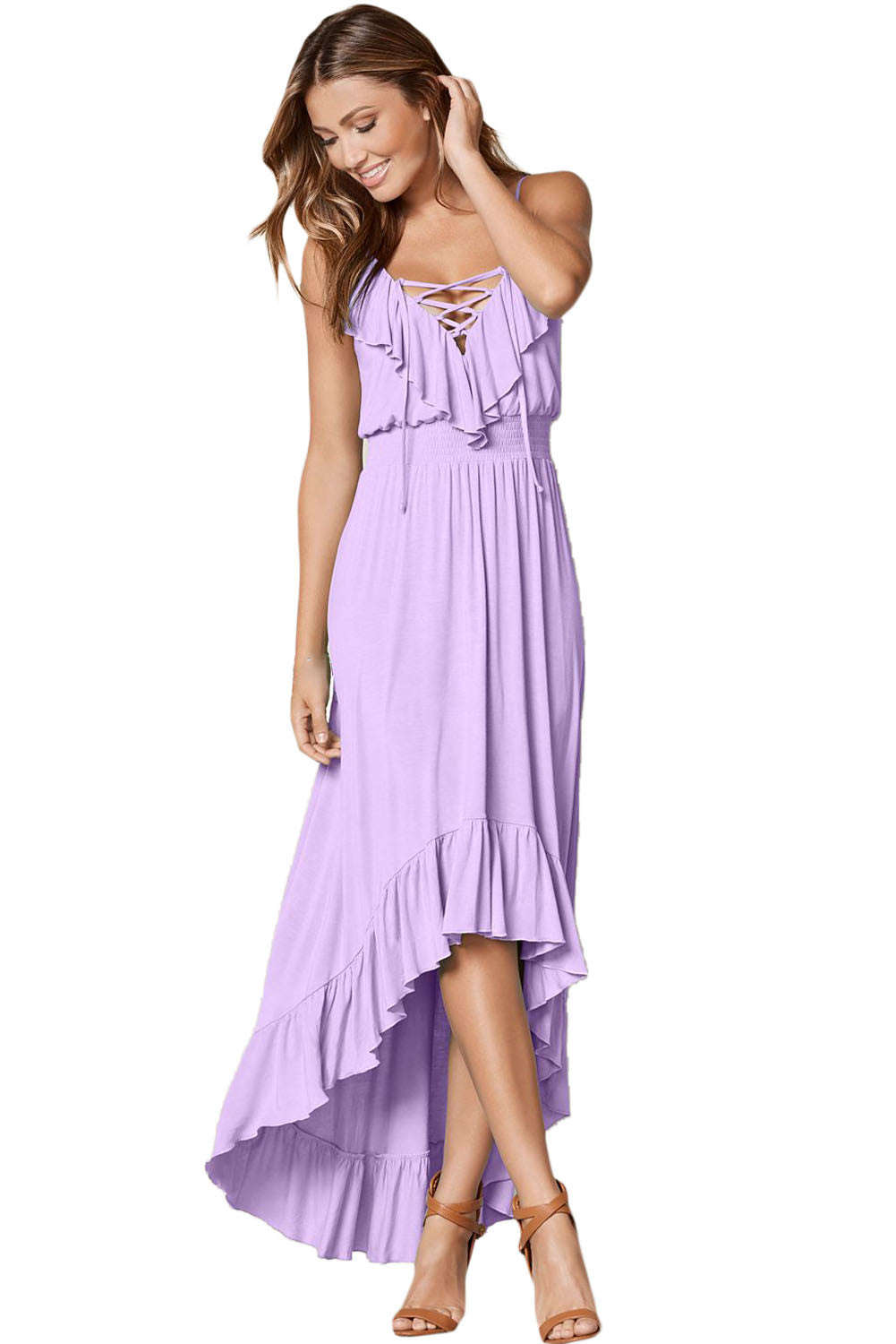 Her Fashion Lilac Lace Up V Neck Ruffle Trim Timeless Maxi Dress
