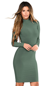 Her Fashion Long Sleeve Half Collar Women Trendy Army Green Mini Dress
