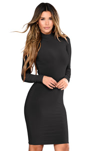 Her Fashion Long Sleeve Half Collar Women Trendy Black Mini Dress