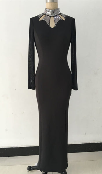 Her Fashion Long Sleeve Hollow Out Halterneck Maxi Dress