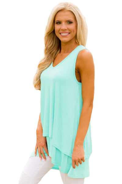 Her Fashion Mint Ruffled Layer Asymmetric Hem Stylish Tunic Tank