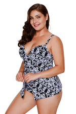 Her Fashion Modest Blue Tankinis 2pcs Deep V-neckline Swimsuit