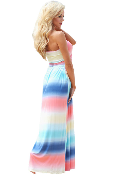 Her Fashion Multi Tie Dye Strapless Lovely Maxi Boho Dress