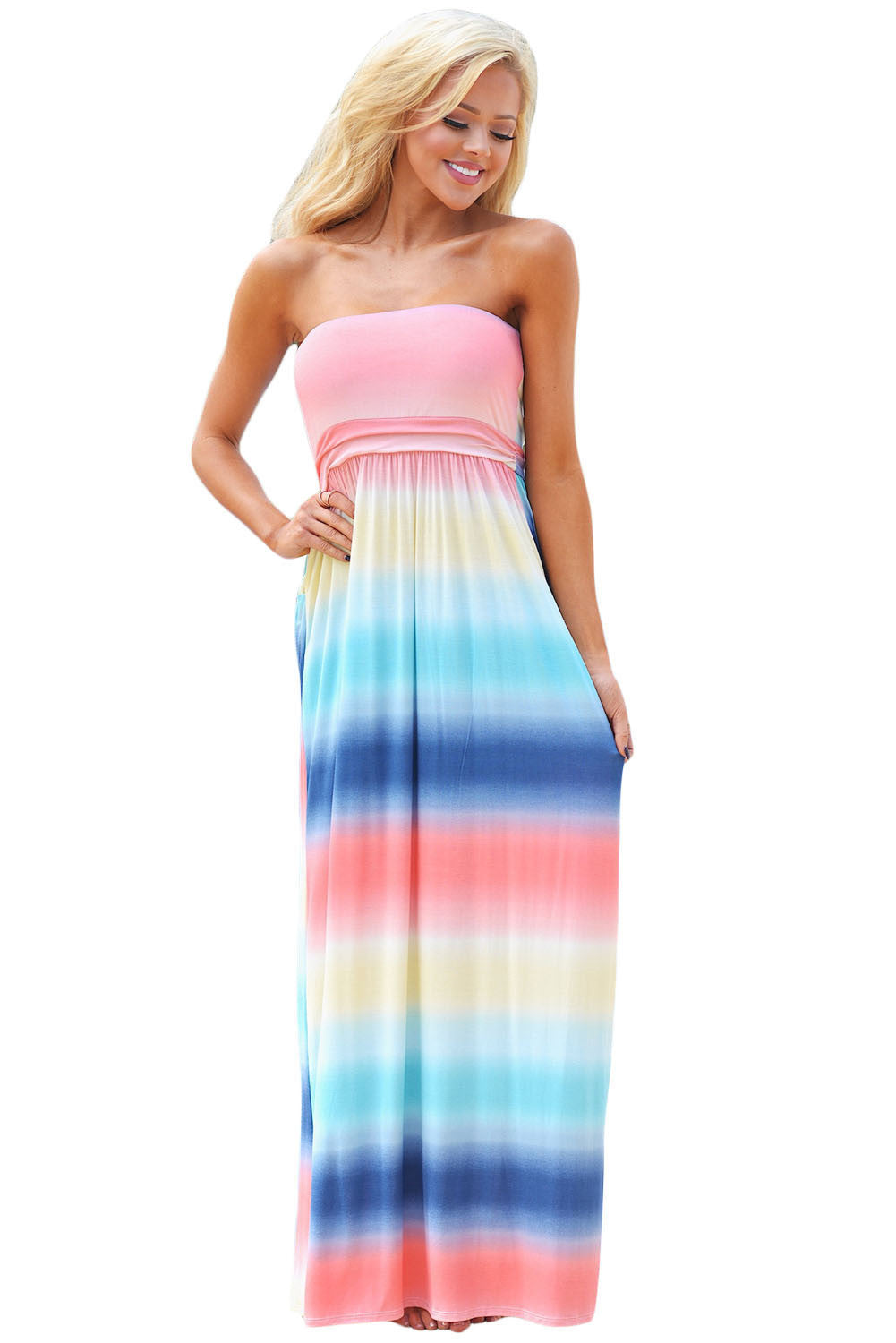 Her Fashion Baby Blues Multi Print Strapless Lovely Maxi Boho Dress