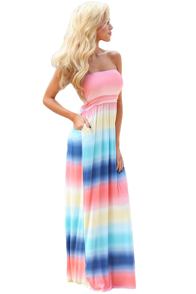 Her Fashion Beautiful Floral Print Strapless Lovely Maxi Boho Dress