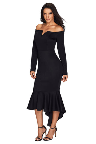 Her Fashion Black Off Shoulder Long Sleeve Mermaid Dress