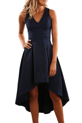 Her Fashion Navy High Low Hem Sleeveless modern look Midi Dress