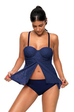 Her Fashion Navy Blue Lace Flattering Draped, Tankini Bathing Suit