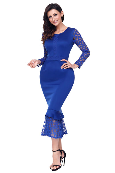 8d422778a5424 Her Fashion Navy Blue Lace Long Sleeve Mermaid Hem Bodycon Midi Dress