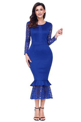 Her Fashion Navy Blue Lace Long Sleeve Mermaid Hem Bodycon Midi Dress