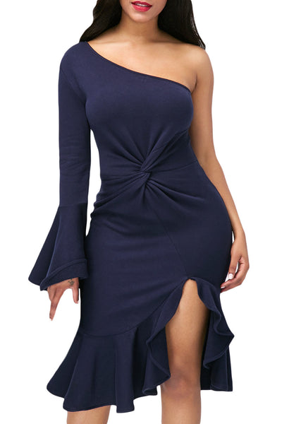 Her Fashion Navy Twist & Ruffle Accent OneShoulder Stylish Prom Dress