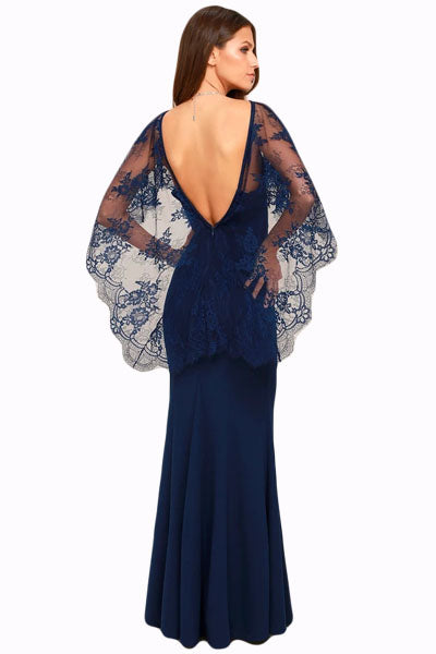 Her Fashion Navy Blue V Cut Back Lace Cape Sleeve Maxi Evening Dress
