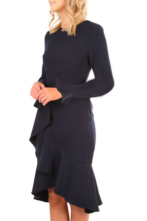 Her Fashion Navy Delicate Ruffle Accent Bell Sleeve Popular Midi Dress