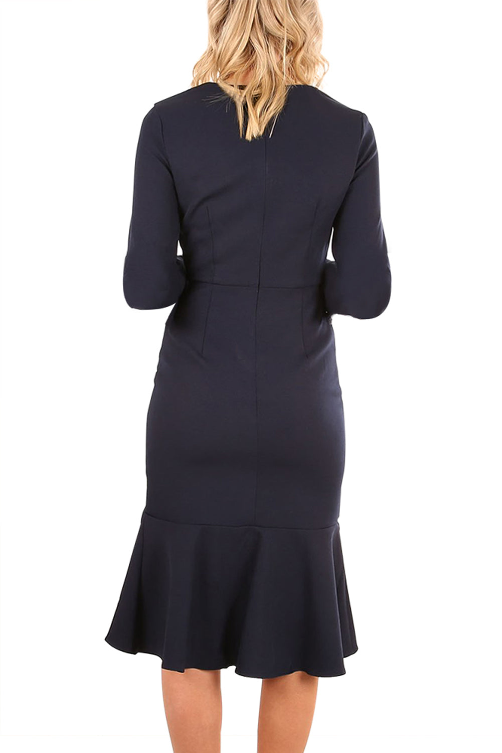 Her Fashion Black Delicate Ruffle Accent Bell Sleeve Popular MidiDress