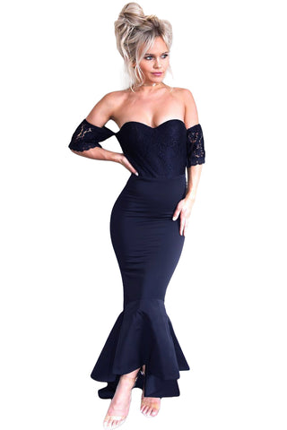 Her Fashion Navy Lace Embellished Strapless Stunning Party Dress
