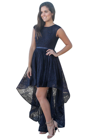 Her Fashion Navy Sweetheart Cutout Back Lace Party Hi-low Dress