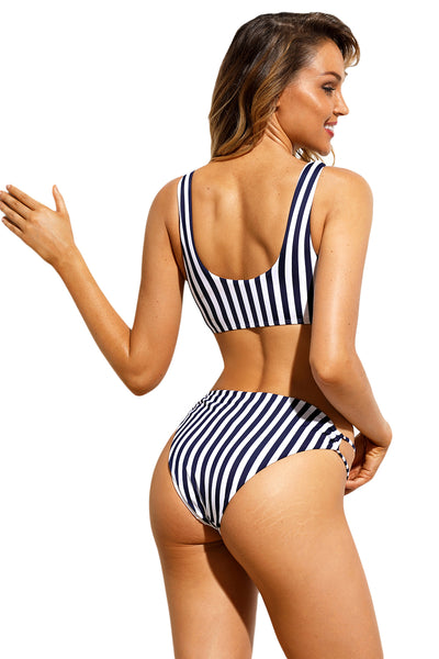 Her Fashion Navy White Pinstriped Two Piece Bikini Swimsuit