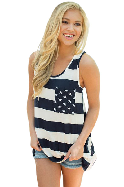 Her Fashion Navy White Stripes Pocket Chic Tank Top