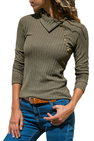 Her Fashion Olive Green Ribbed Knit Turn Down Collar Long Sleeves Top