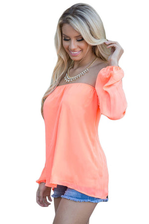 Her Fashion Pink Off The Shoulder Blouse