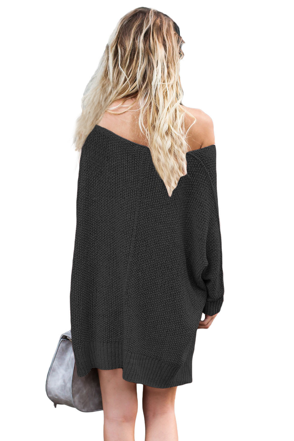Her Fashion Oversized Black Knit High-low Slit Side Trendy Sweater