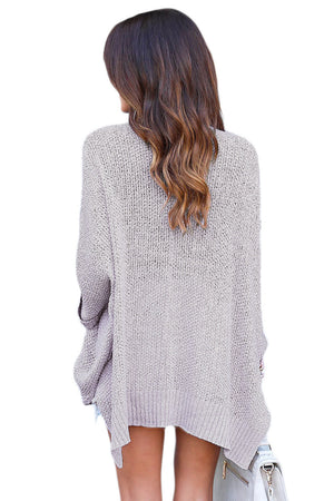Her Fashion Oversized Grey Knit High-low Slit Side Trendy Sweater