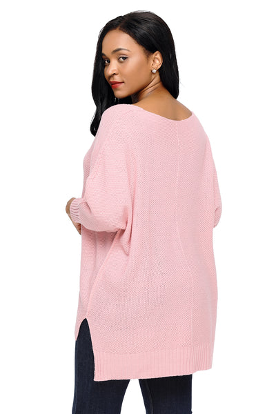 Her Fashion Oversized Pink Knit High-low Slit Side Trendy Sweater
