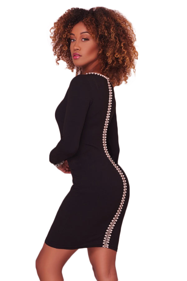 Her Fashion Pearl Embellished Sleek Black Bodycon Dress