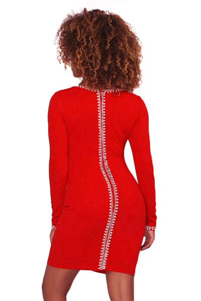 Her Fashion Pearl Embellished Sleek Red Bodycon Dress