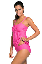 Her Fashion Deep Pink 2pcs Swing Trendy Tankini Swimsuit