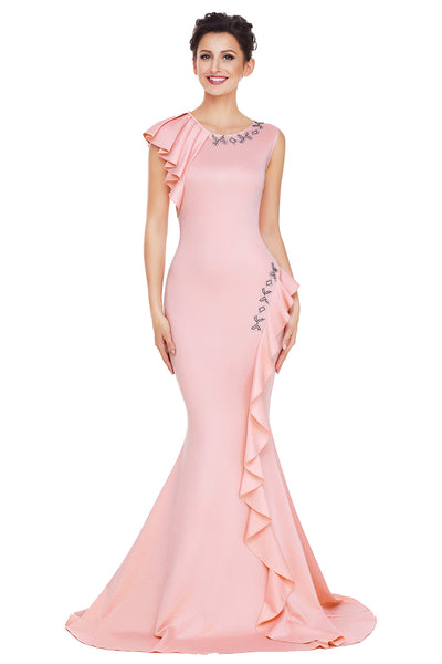 Her Fashion Pink Asymmetric Pleats Trendy Long Prom Party Dress
