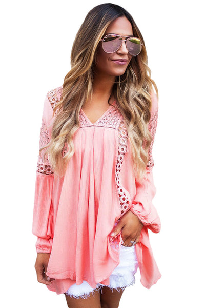 Her Fashion White Crochet Lace Trim Relaxed Long Sleeve Tunic Boho Top -8326