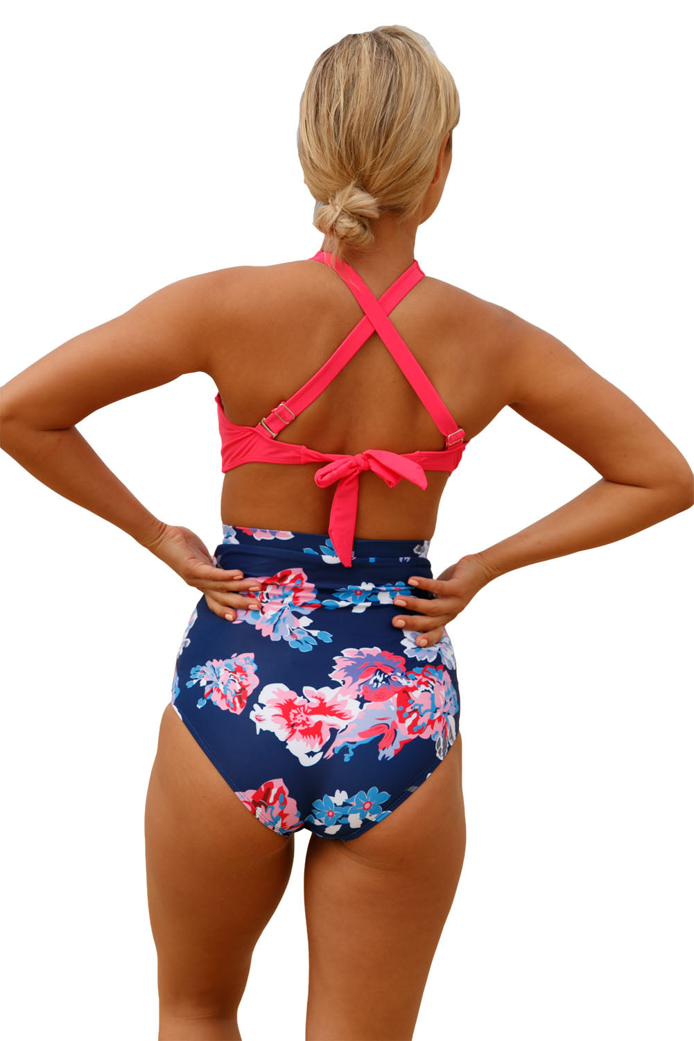 Her Fashion Orange Cross Front Bikini Vintage Floral High Waist Swimsuit