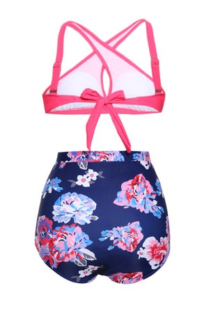 Her Fashion Pink Cross Front Bikini Vintage Floral High Waist Swimsuit