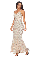Her Fashion Pink Gold Sequins Crisscross Chic Party Maxi Evening Dress