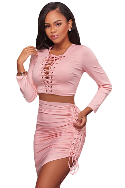 Her Fashion Black Lace Up Long Sleeve Crop Top Bodycon Skirt Set