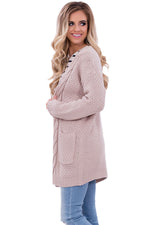 Her Fashion Khaki Long Open Front Pocket Chic Cardigan